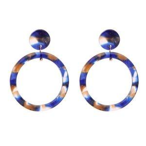 Jewelry - Trendy Blue Resin Hoops